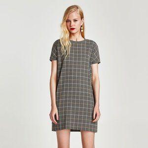 NEW Zara Trafaluc Collection Checked Dress Mod XS